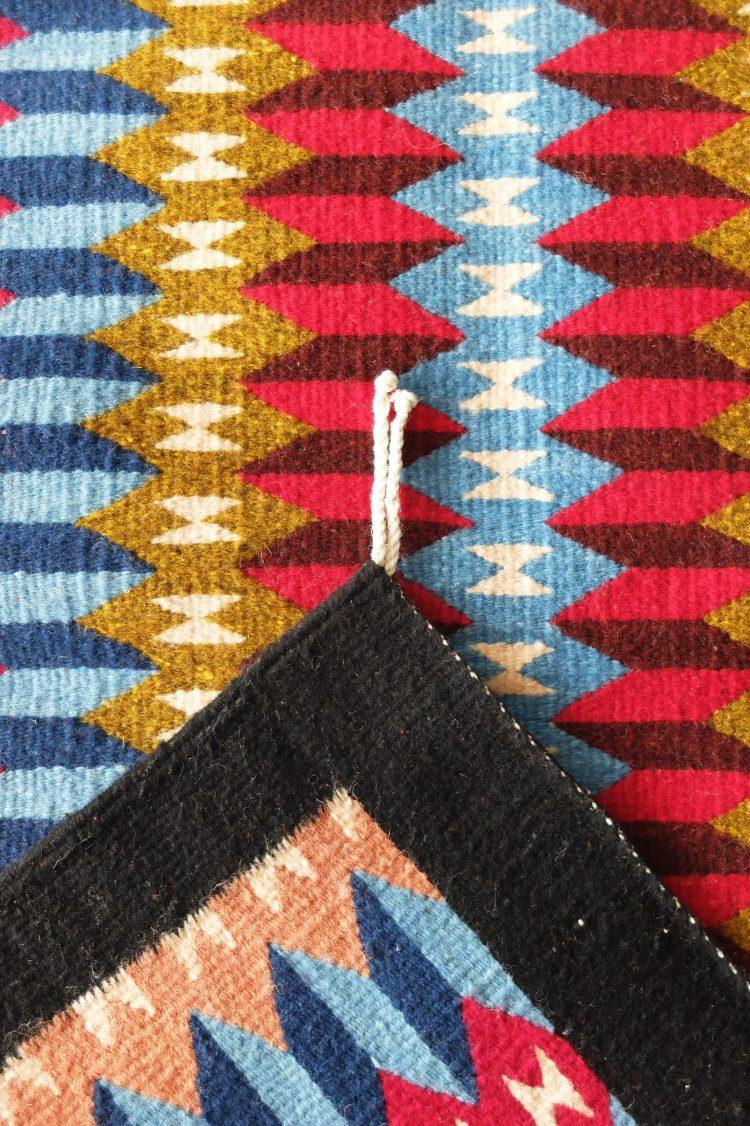 Tapis ethnique mexicain motifs géométriques
