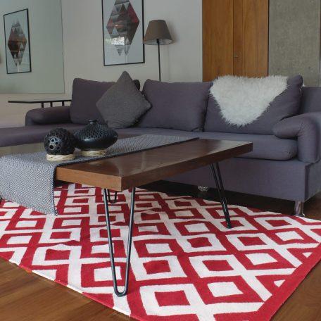 tapis mexicain rouge et blanc en laine