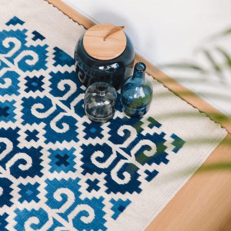 tapis bleu en laine fabriqué au mexique sancho poncho