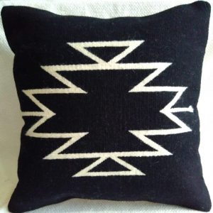 wool cushion cover black lines